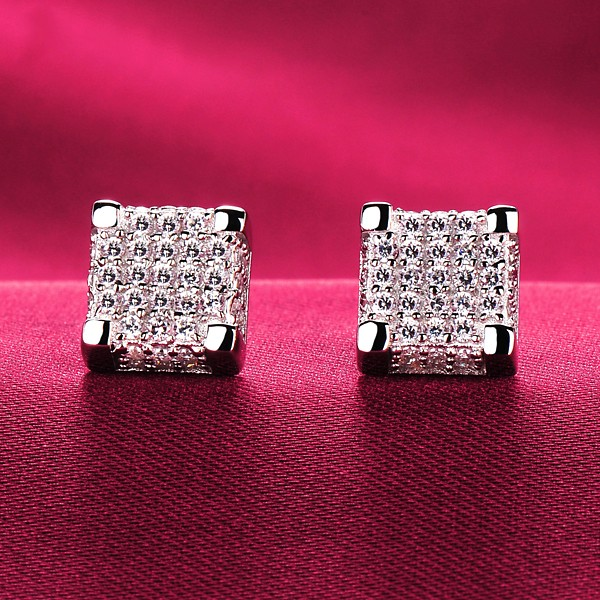 0.8 Carat Square ESCVD Diamonds Fashionable Women Earrings