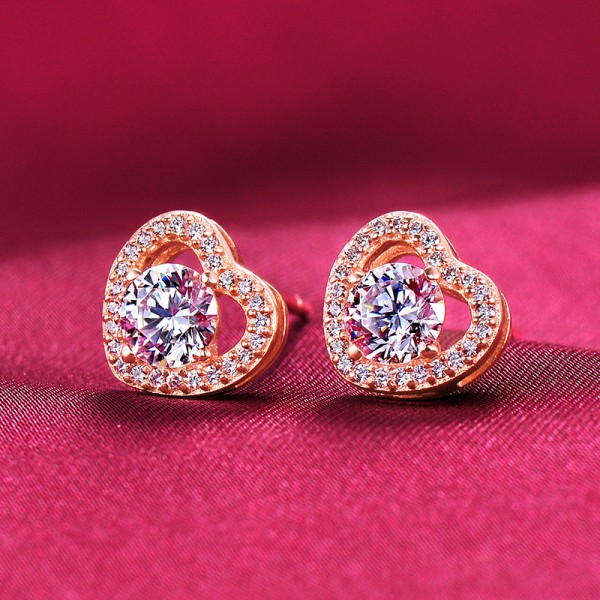 0.39 Carat Rose Gold Color Heart Shape ESCVD Diamonds Fashionable Women Earrings