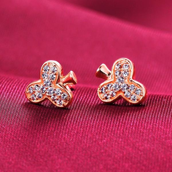 Plum Blossom Shape Rose Gold Color ESCVD Diamonds Fashionable Women Earrings