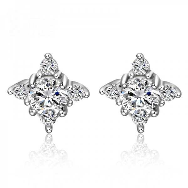 New S925 Sterling Silver Cubic Zirconia Flower Stud Earrings