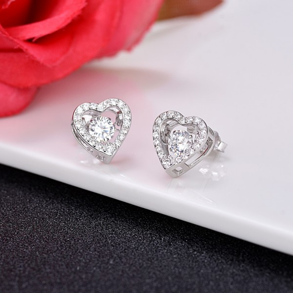 S925 Sterling Silver Simple Heart Cubic Zirconia Girls Stud Earrings
