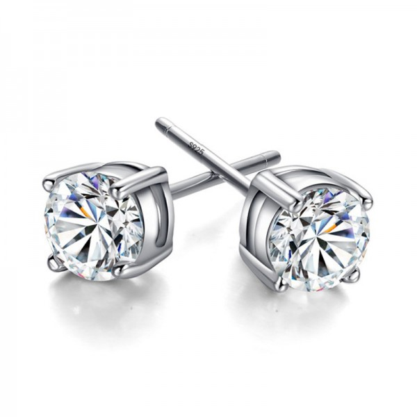 2018 New Style S925 Sterling Silver Cubic Zirconia Four Claw Earrings