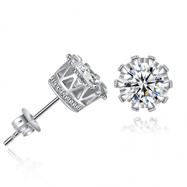 Hot Seller Alloy Cubic Zirconia Crown Earrings