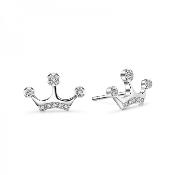 High-Grade S925 Sterling Silver Personality Crown Cubic Zirconia Earrings