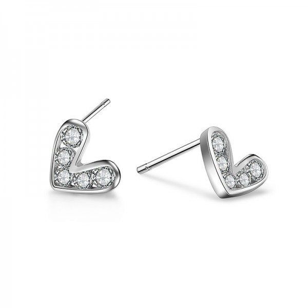 S925 Sterling Silver Love Fashion Heart-Shaped Earrings