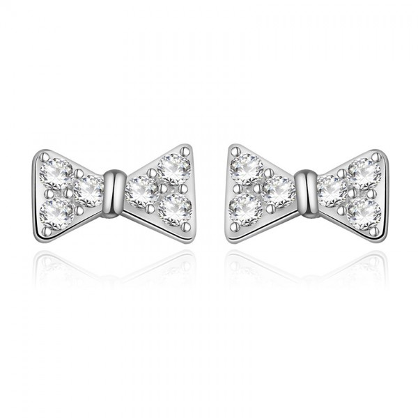 Fashion Temperament Bow S925 Sterling Silver Anti-Allergic Ear Jewelry