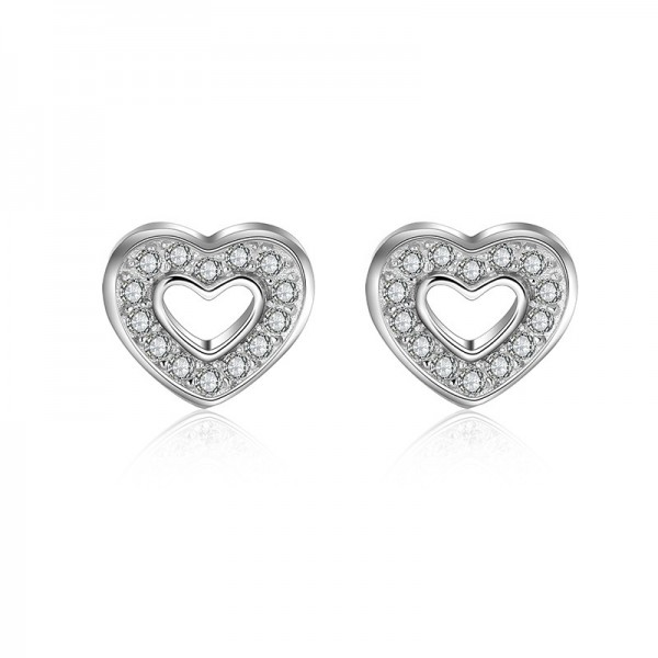 Good S925 Sterling Silver Heart For Love Women Earrings