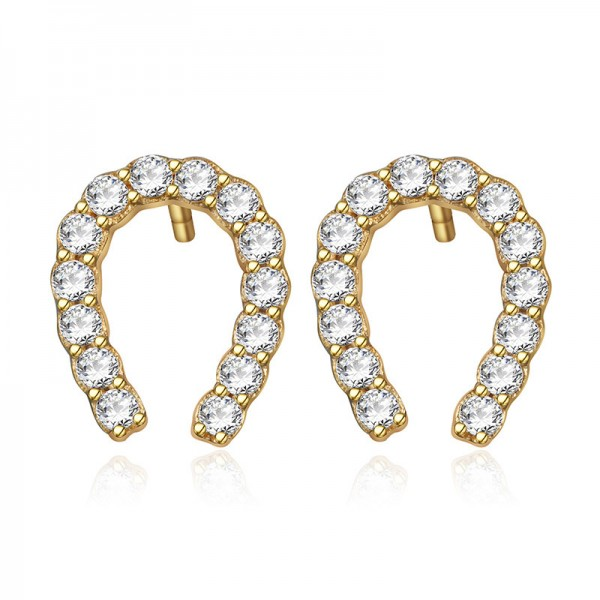 Mini U Horseshoe Shaped S925 Sterling Silver Cubic Zirconia Earrings