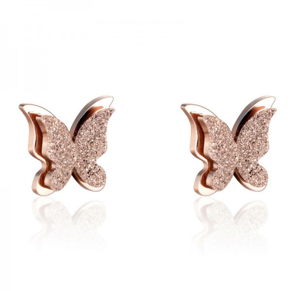 2018 New Style Titanium Rose Gold Matte Butterfly Earrings
