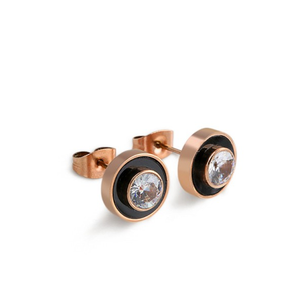 Rose Gold Titanium Cubic Zirconia Womens Stud Earrings