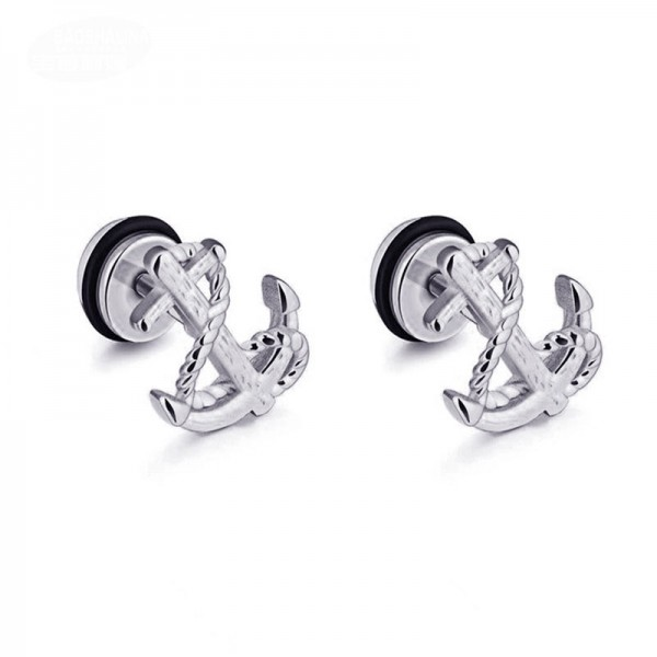 Simple Anchor And Dumbbell Titanium Stud Earrings