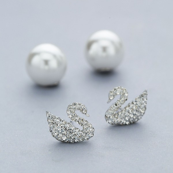 S925 Sterling Silver Fashion Pearl Swan Female Earrings
