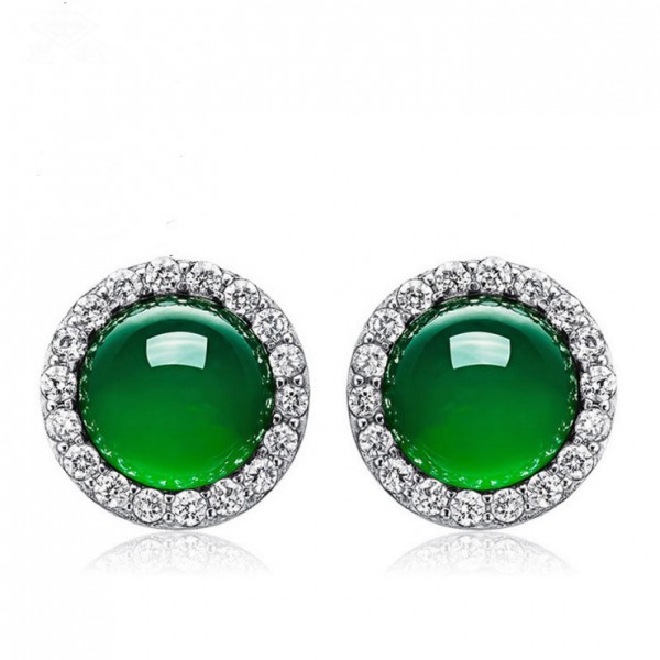 Hot Selling S925 Sterling Silver Green Agate Elegant Earrings