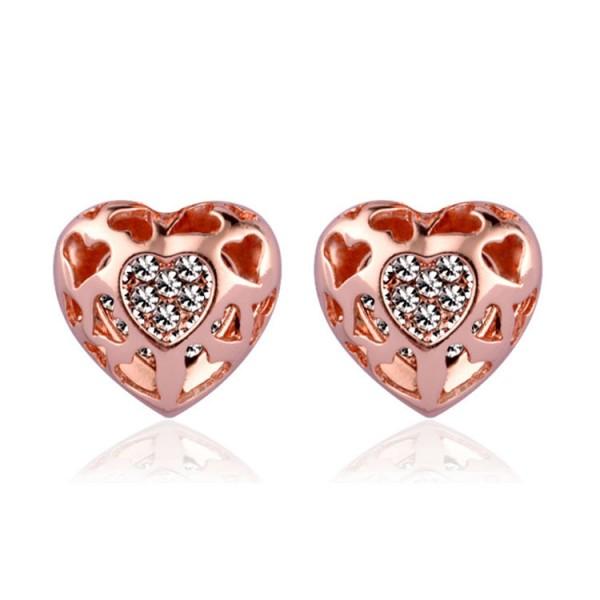 Rose Gold Heart Shaped Stud Earrings