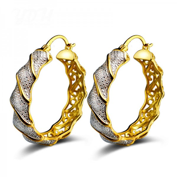 Fashion S925 Sterling Silver Antique Exaggerated European Hollowed  Earrings