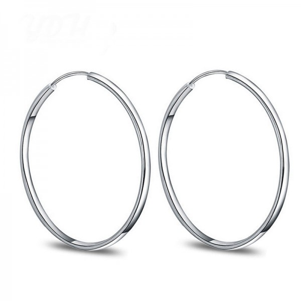 Hot Selling Classic S925 Sterling Silver Fashion Trend Circle Earrings