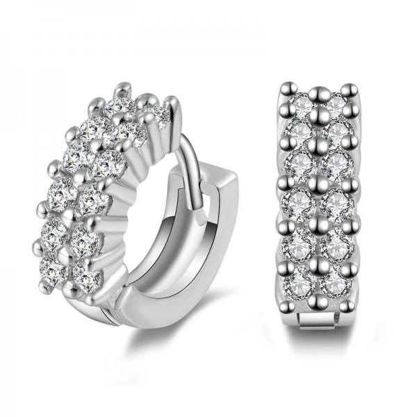 Fashion S925 Sterling Silver Shining Cubic Zirconia Earrings