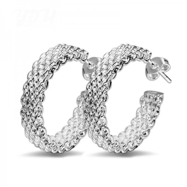 Elegant S925 Sterling Silver Net Style Earrings