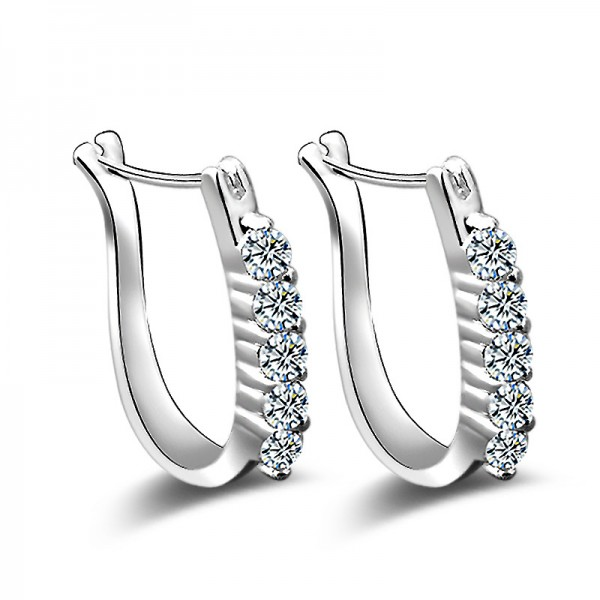 S925 Sterling Silver U Shaped Cubic Zirconia Personality Earrings