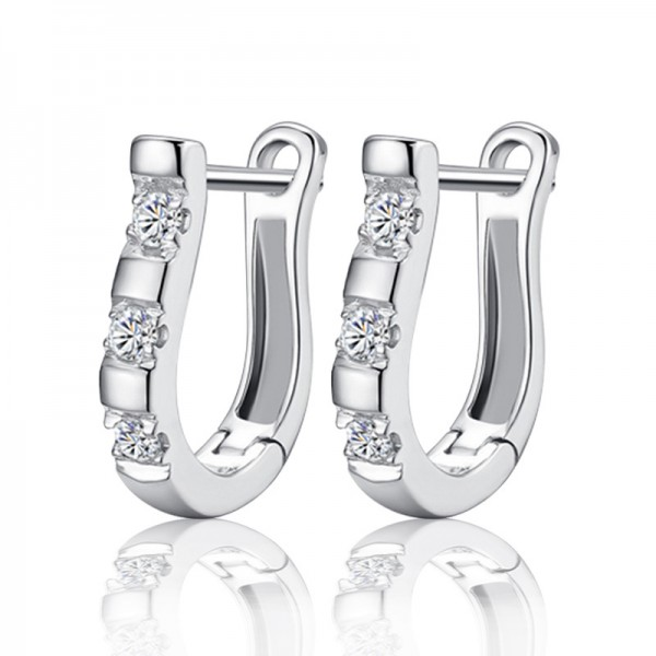 S925 Sterling Silver U Typed Harp Cubic Zirconia Earrings