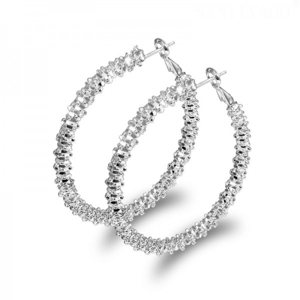 Fashion Alloy Silver Plated Personality Circle Earrings