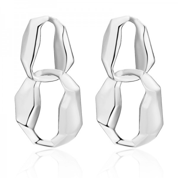 New Exaggerated Twist Sheet Alloy Anti Allergy Earrings