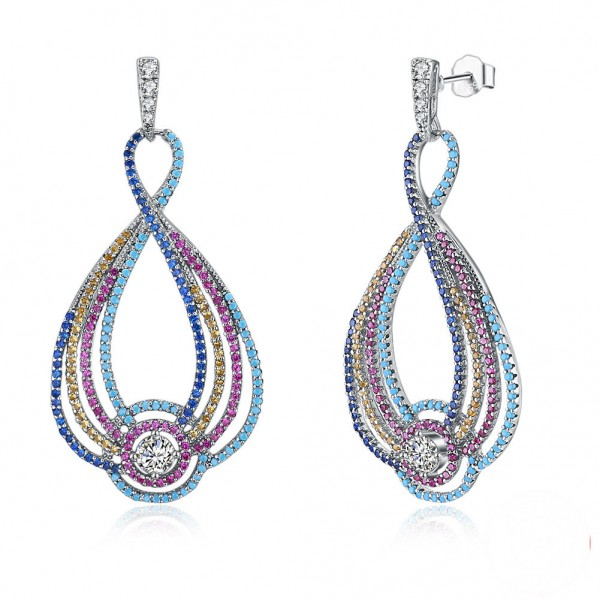 European Fashion Muliti-Colors S925 Sterling Silver Earrings