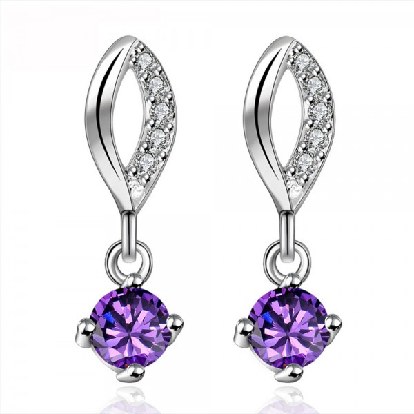 New European Purple Cubic Zirconia S925 Sterling Silver Earrings