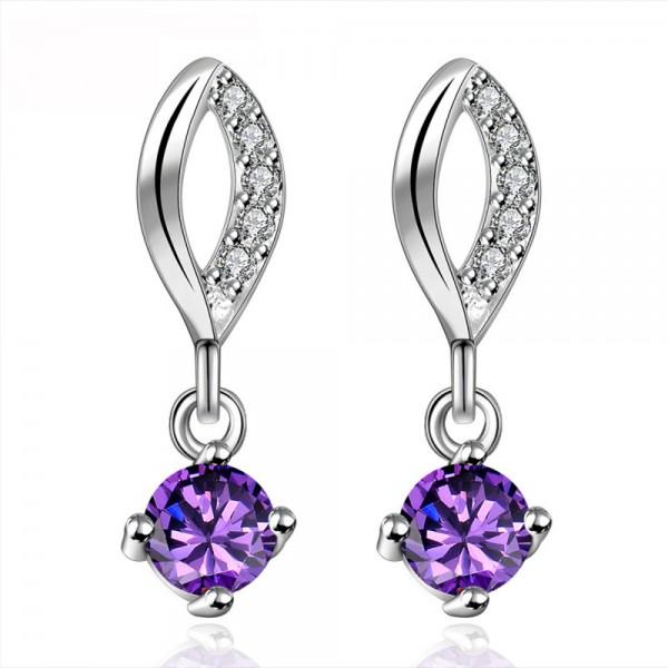 New European Purple Cubic Zirconia S925 Sterling Silver Earrings