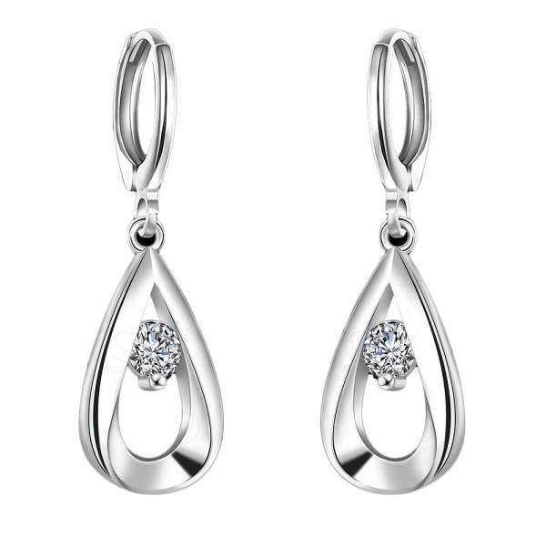 Alloy Silver Plated Cubic Zirconia Water Drop Earrings