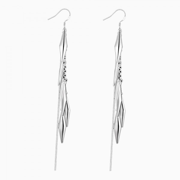 Personality Silver Plated Long Tassel Earrings