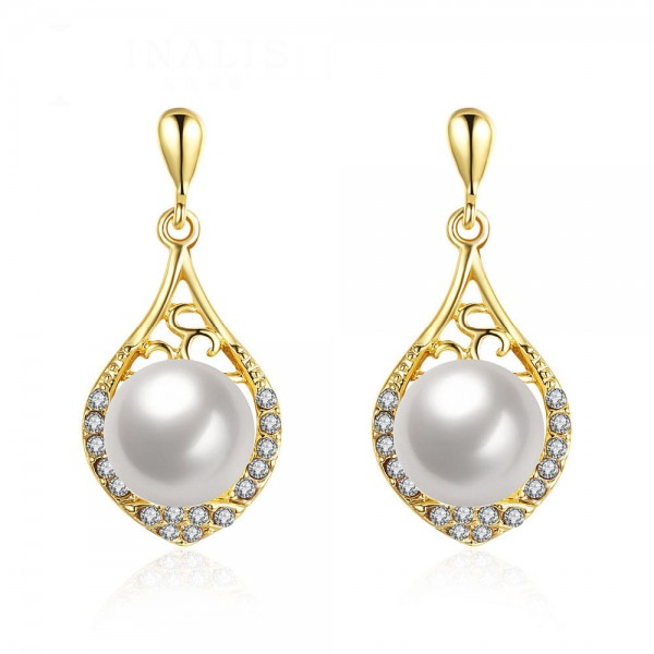 Elegant Long Alloy Pearl Anti Allergy Earrings