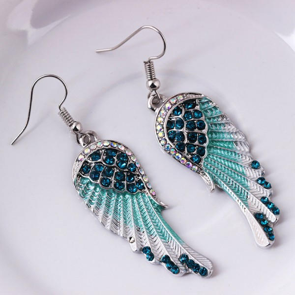 Hot Fashion Angel Wings S925 Sterling Silver Exaggerated Earrings