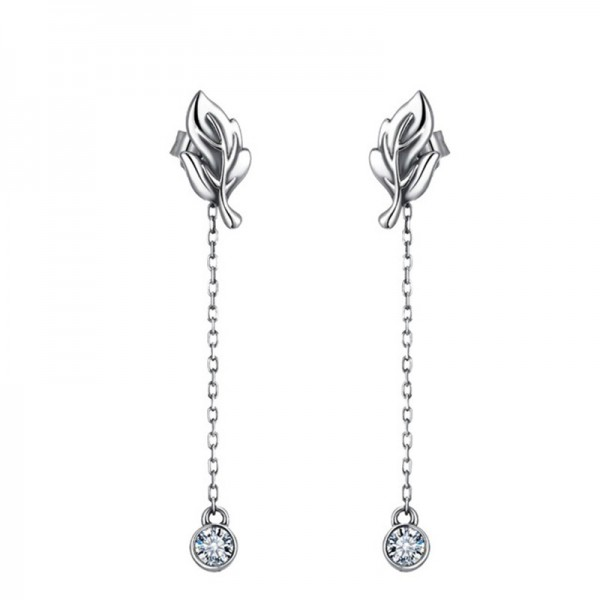 S925 Sterling Silver Leaves Cubic Zirconia Anti Allergy Earrings