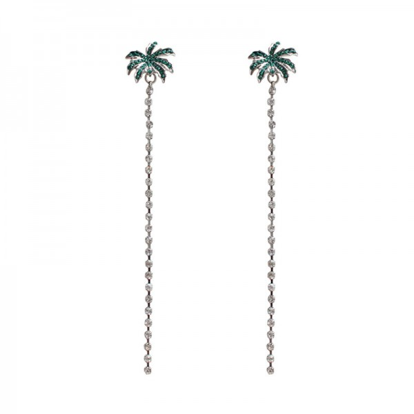 Beautiful Alloy Green Coco Long Pendant Earrings