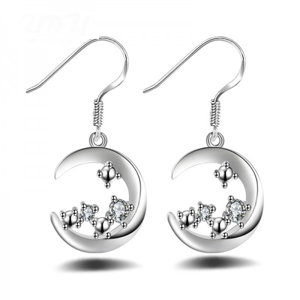 Fashion Silver Plated Lovely Moon Cubic Zirconia Earrings