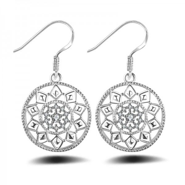 Women'S Silver Plated Round Shape Cubic Zirconia Earrings