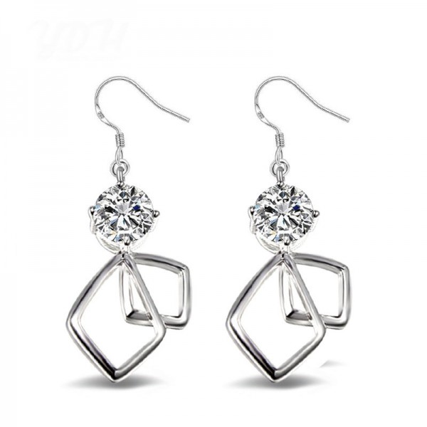 Exquisite Silver Plated Alloy Cubic Zirconia Earrings