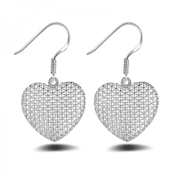 Noble Fashion Silver Plated Cute Heart-Shaped Earrings