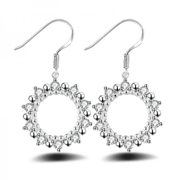 Silver Plated Circular Hollowed Sun Cubic Zirconia Earrings