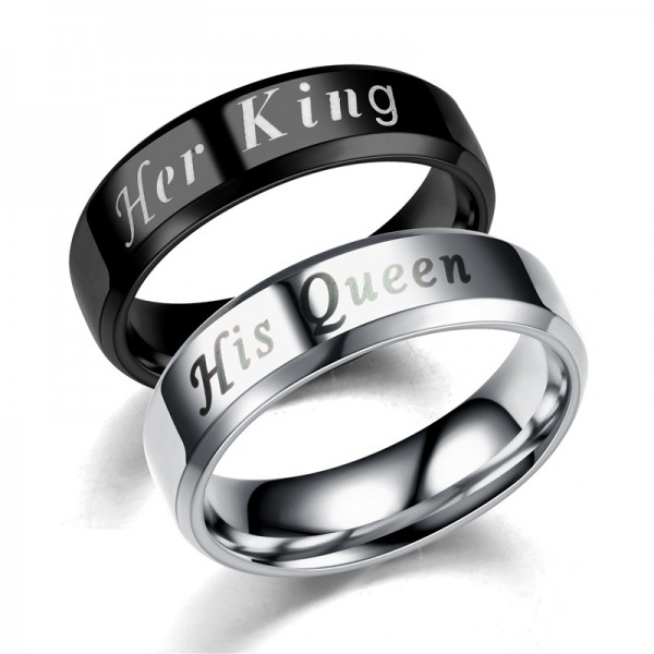 New Fashion Lovers Titanium Steel Ring Her King His Queen Romantic Wedding Ring Size 6 7 8 9 10 11 12 Full Size