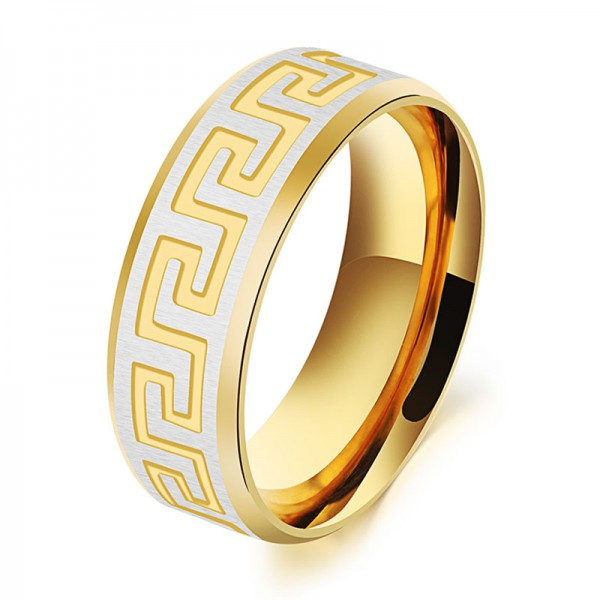 Titanium Golden Ring For Men the Great Wall Pattern Elegant and Exquisite