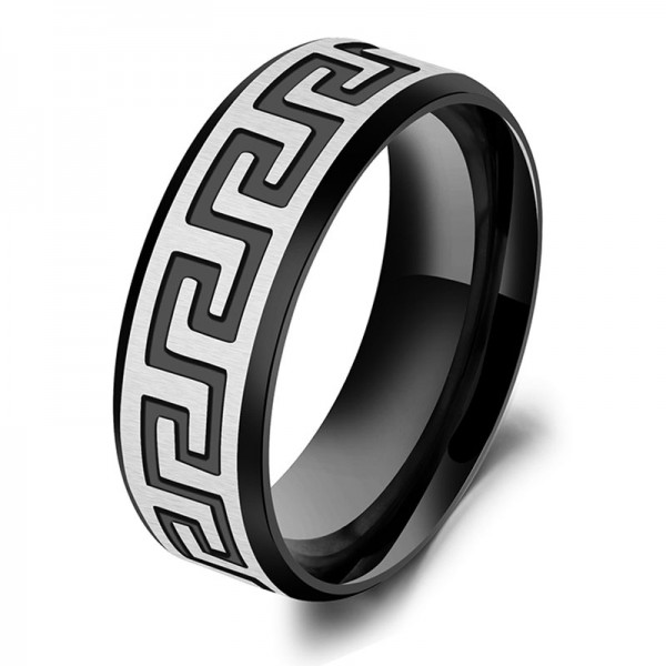 Titanium Black Ring For Men the Great Wall Pattern Elegant and Exquisite