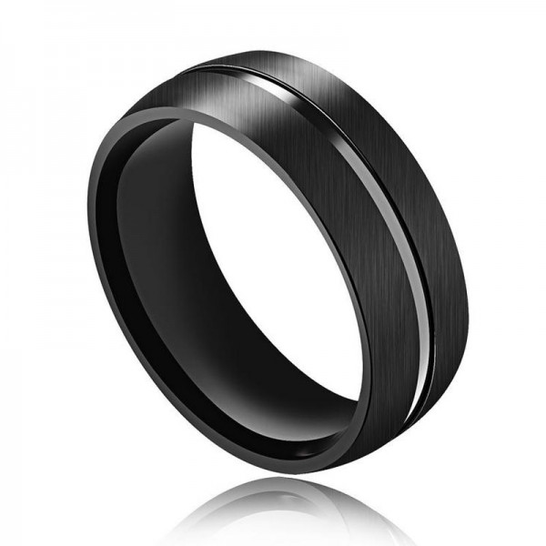 Titanium Black Ring For Men Simple and Cool Brushed and Fluted Craft