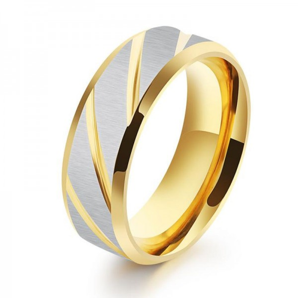 Titanium Golden and Blue Ring For Men Simple and Fashion Fluted Craft