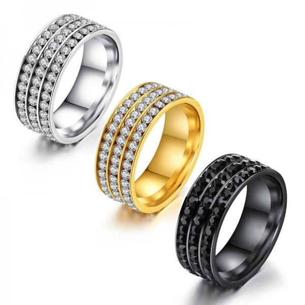 Gold Three-Row Drill Diamond Titanium Steel Ring Temperament Female Ring