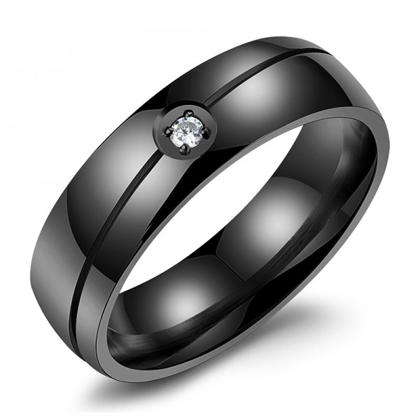 Titanium Silvery Golden and Black Ring For Men Inlaid Cubic Zirconia Liberality and Fashion Fluted Craft