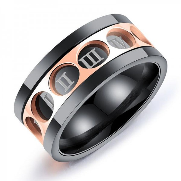 Titanium Rose Gold and Black Ring For Men Simple and Fashion Rome Numerals Rotatable Design
