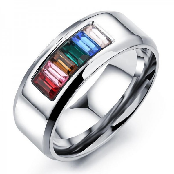 Titanium Rainbow Ring For Homosexual Liberality and Fashion Style Polish Craft