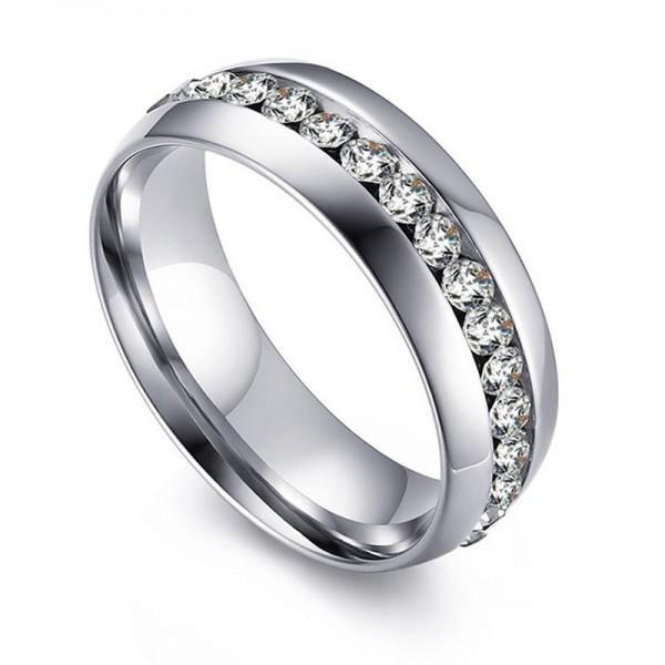 Titanium Silvery Ring For Men Inlaid Cubic Zirconia Liberality and Fashion Inner Arch Design